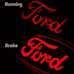 ford emblem blue chrome running brake
