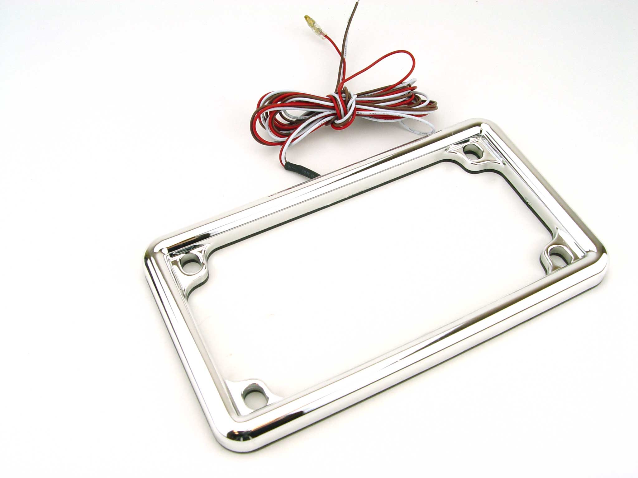 BOSSWELL 6671 LED Lighted Motorcycle License Frame Cover - Chrome