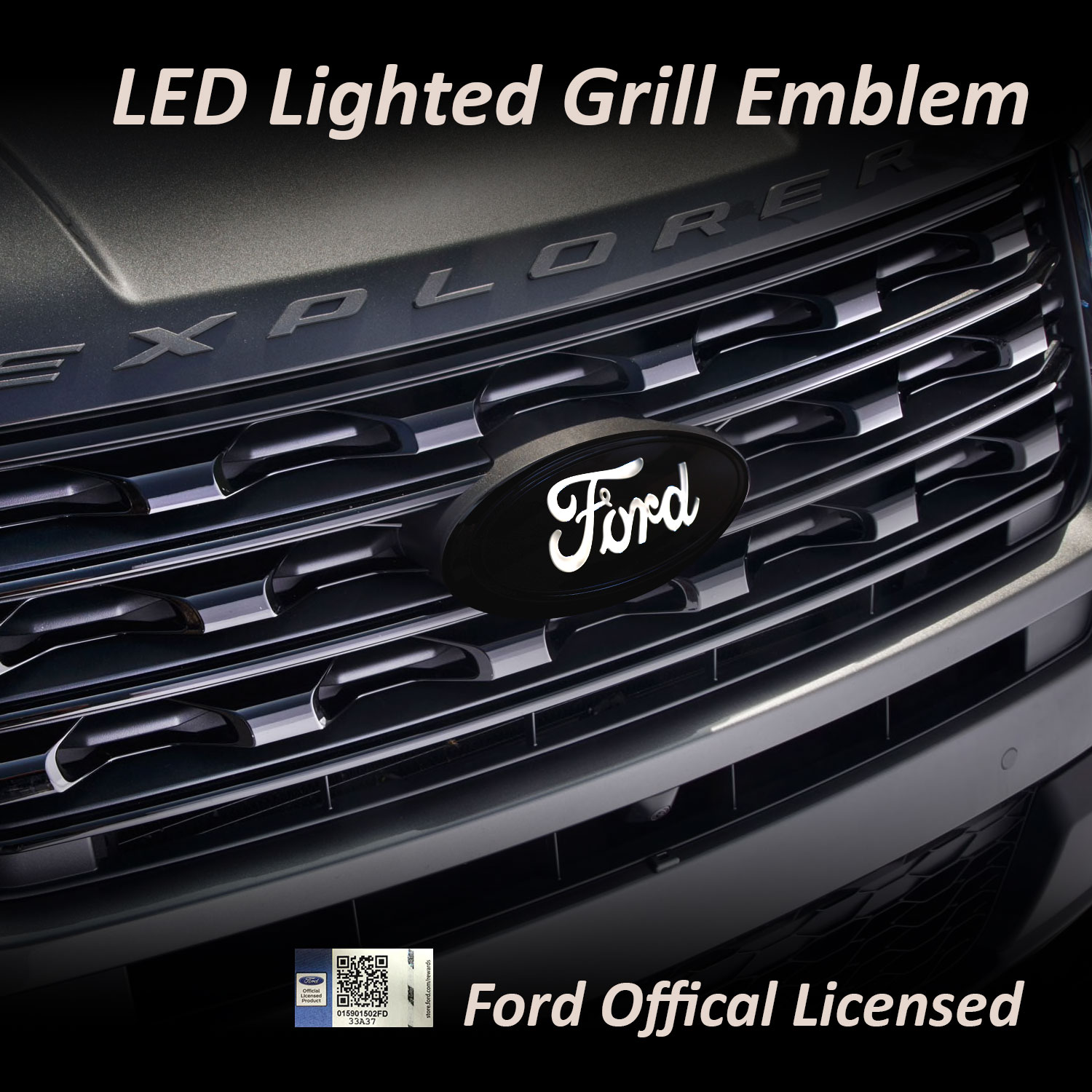 Ford grill emblem on grill